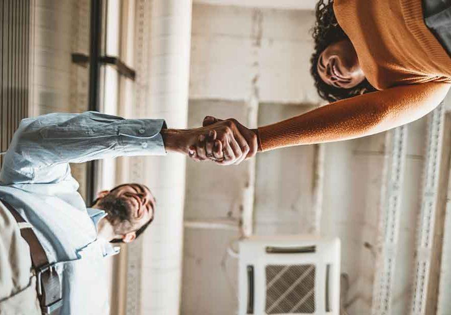 Man Woman Shake Hands